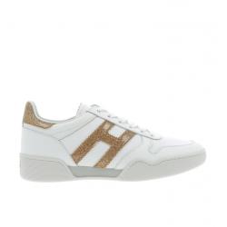 hogan nouveautés sneakers hf h357HF H357 - CUIR - BLANC ET OR