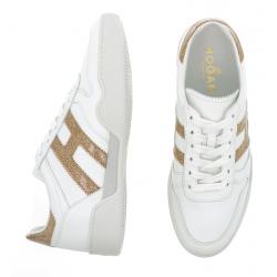 hogan nouveautés sneakers Sneakers H357HF H357 - CUIR - BLANC ET OR