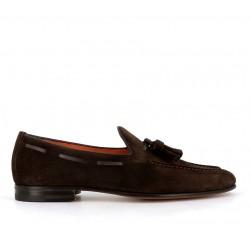 santoni mocassins et slippers Mocassins à pampillesCARLPO 2 - NUBUCK - CHOCOLAT