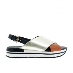 hogan nouveautés sandales Sandales H222ELIA CROISE - CUIR - GOLD ,NOIR
