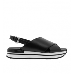 hogan nouveautés sandales Sandales H222ELIA CROISE - CUIR - NOIR