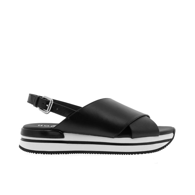 hogan sandales Sandales H222ELIA CROISE - CUIR - NOIR