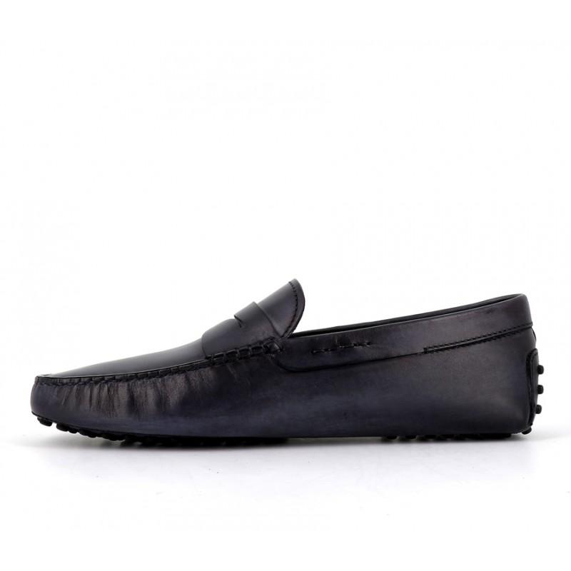 tod's mocassins et slippers Mocassins GomminoGOMMINI - CUIR PATINÉ - BLEU