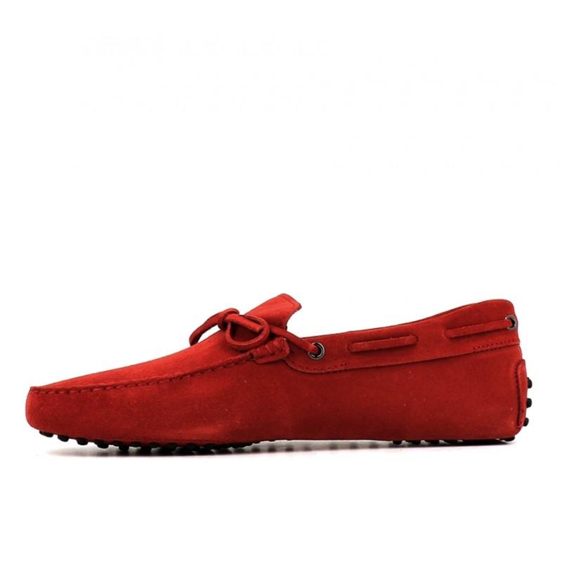 tod's mocassins et slippers Mocassins Gommino à LacetsTODNEU - NUBUCK - ROUGE (2)