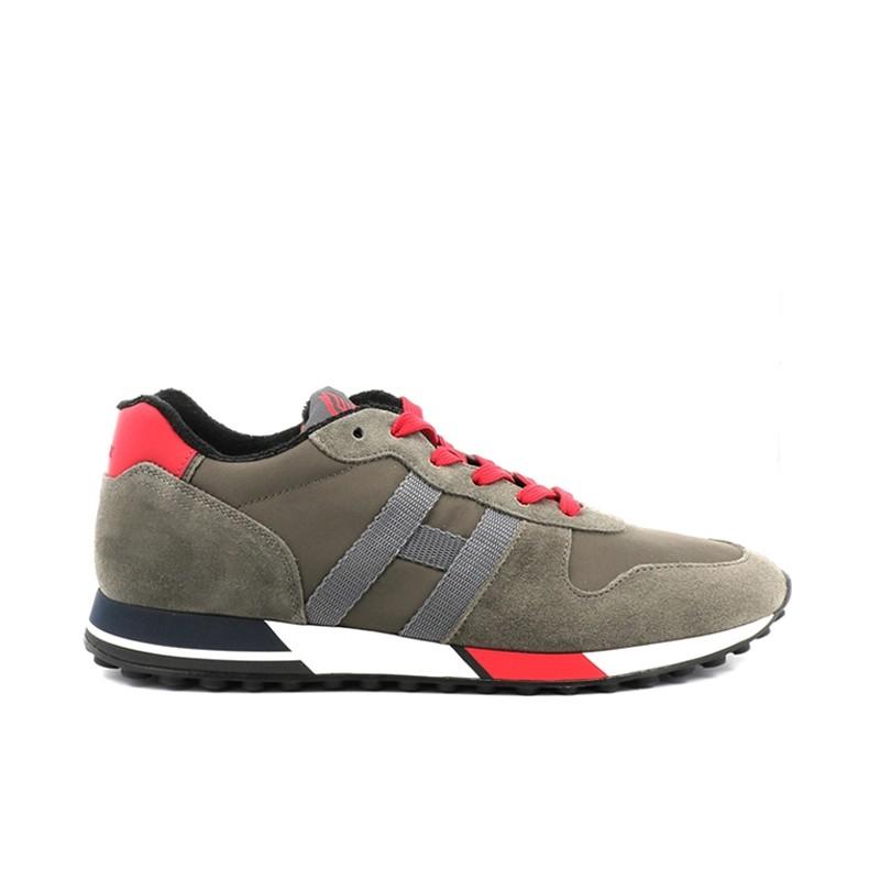 hogan nouveautés sneakers Sneakers H383HH H383 - NUBUCK ET TOILE - KAKI
