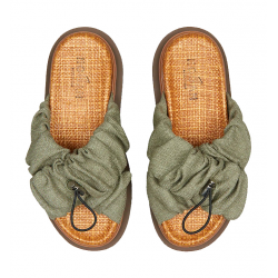 hogan sandales Sandales SlidesHF SLIDES - TISSUS - KAKI