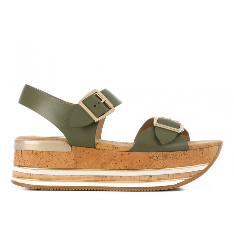 hogan sandales Sandales Maxi H222ELIA MAXI - CUIR - KAKI