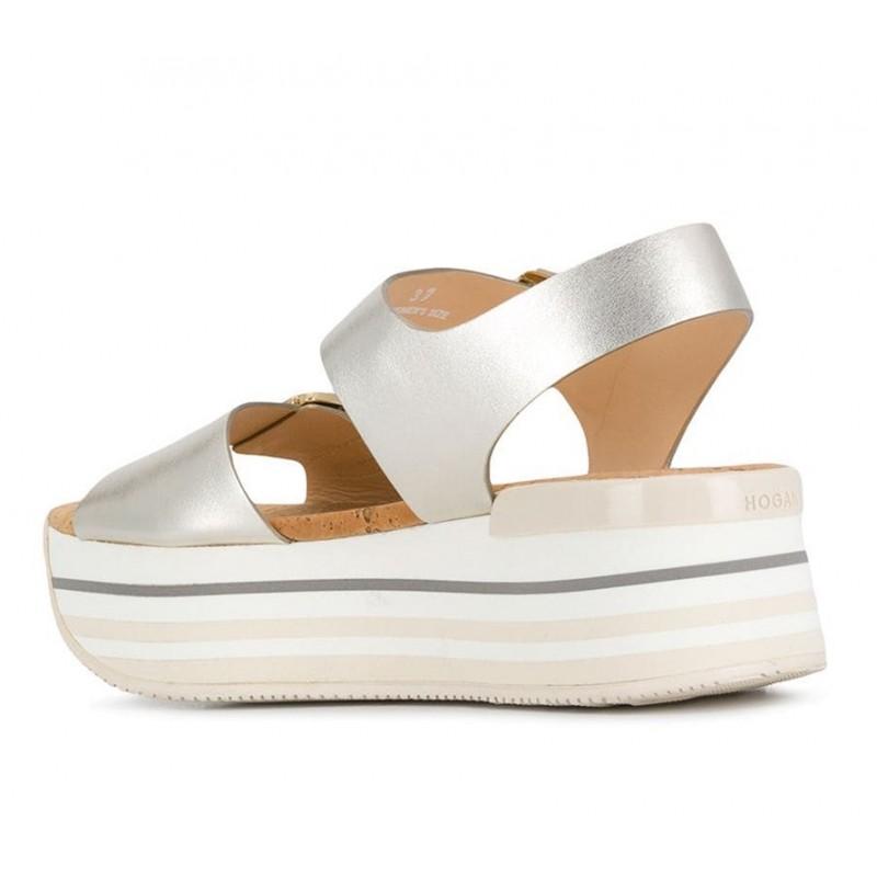 hogan promotions sandales Sandales Maxi H222ELIA MAXI - CUIR METALLISÉ - PLA