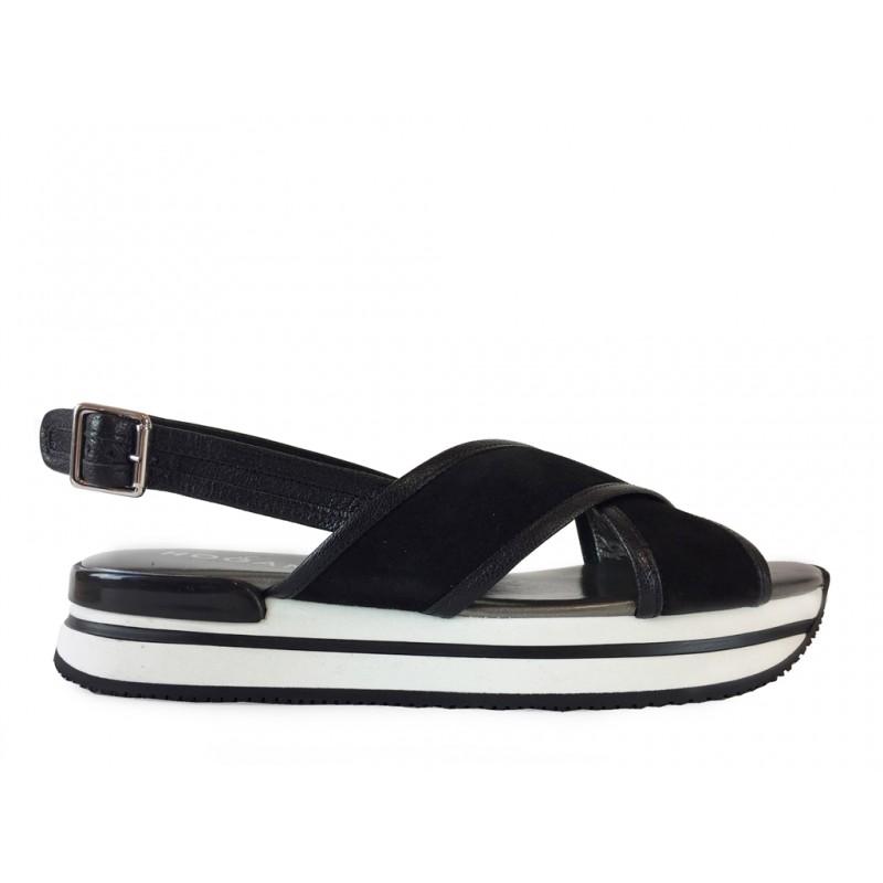 hogan sandales Sandales H222ELIA CROISE 2 - NUBUCK - NOIR