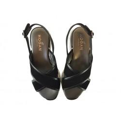 hogan promotions sandales Sandales H222ELIA CROISE 2 - NUBUCK - NOIR