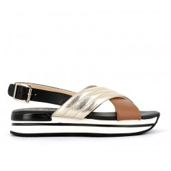 hogan promotions sandales Sandales H222ELIA CROISE 2 - CUIR - NOIR, OR