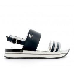 hogan promotions sandales Sandales H222ELIA BANDES (2) - CUIR - MARINE