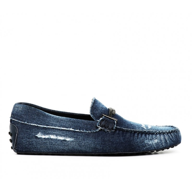 tod's promotions mocassins Mocassins gommino double tGOMME T2 - TOILE - BLEU JEAN