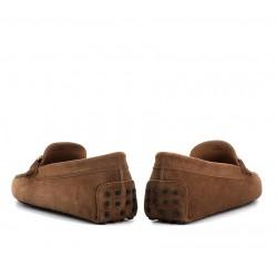 tod's mocassins et slippers Mocassins Gommino Double TGOMME T - NUBUCK - NOISETTE