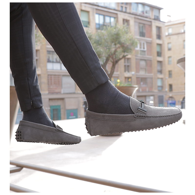 tod's mocassins et slippers Mocassins Gommino Double TGOMME T - NUBUCK - GRIS