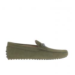 tod's mocassins et slippers Mocassins Gommino Double TGOMME T - NUBUCK - KAKI
