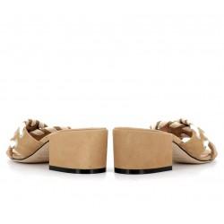 sergio rossi promotions sandales SandalesSR MULE LACET T5 - NUBUCK - BEIG