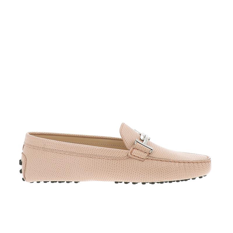 tod's mocassins & slippers Mocassins Gommino Double TTODTIE - CUIR IMPRIMÉ - ROSE ET