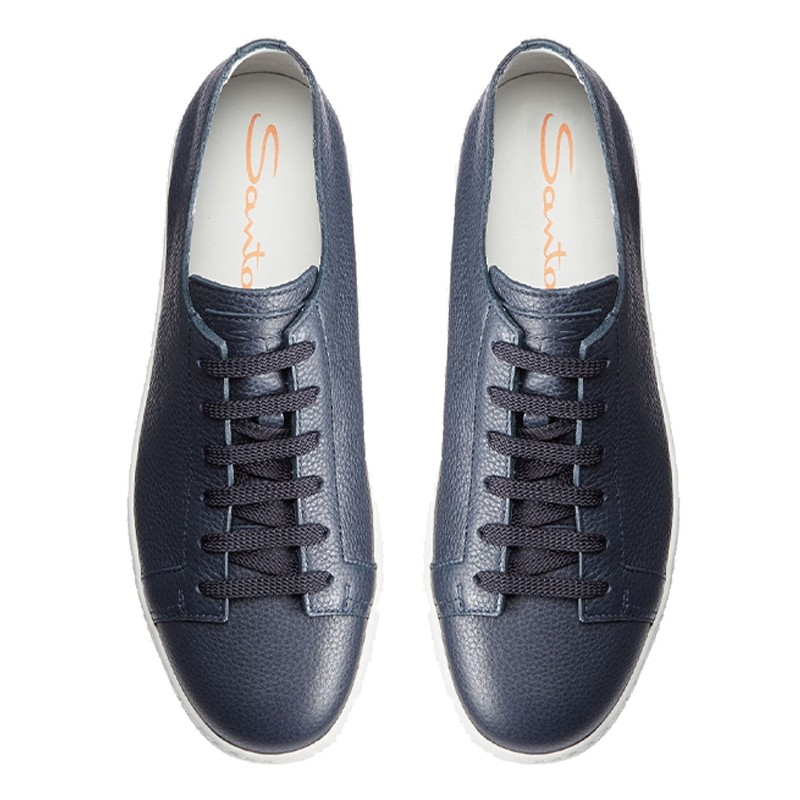 santoni nouveautés sneakers SneakersCLINE - CUIR GRAINÉ - MARINE