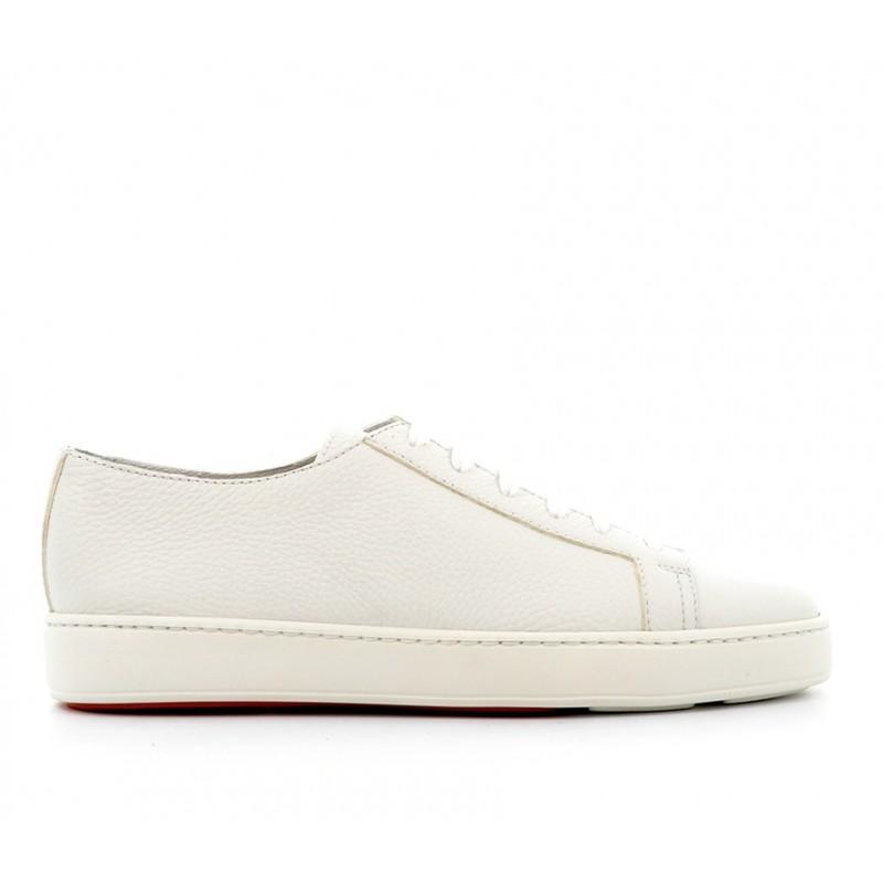 santoni nouveautés sneakers SneakersCLINE - CUIR GRAINÉ - BLANC