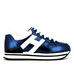 hogan nouveautés sneakers Sneakers H222ELIUM 2 - CUIR METALLISÉ - BLEU