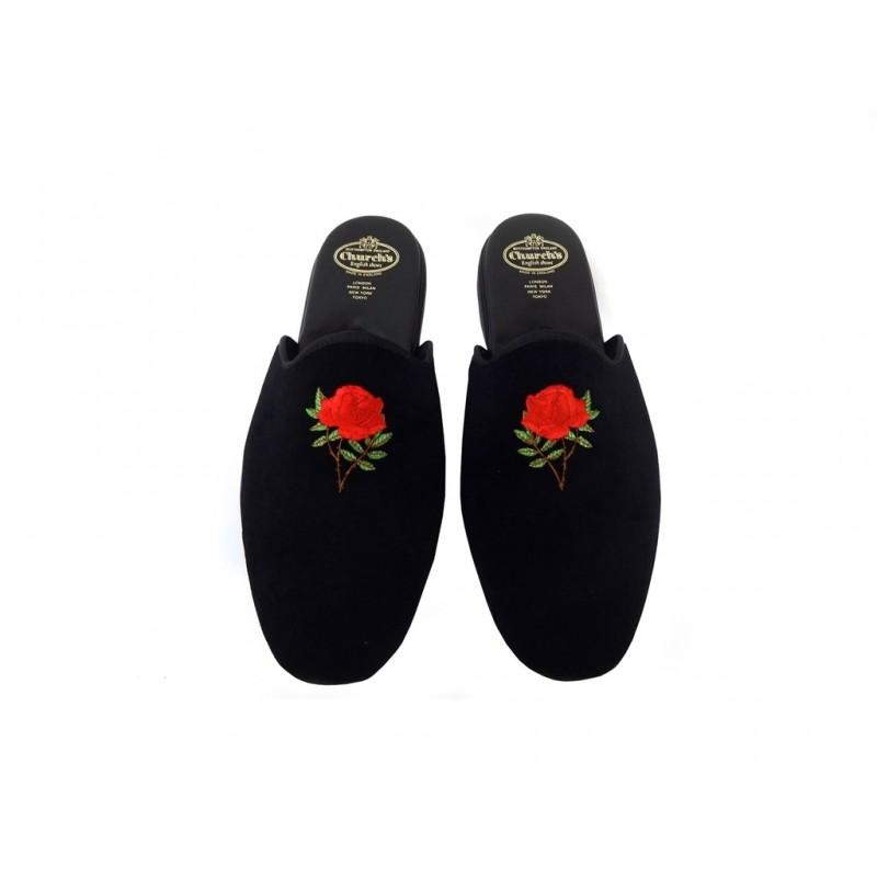 church's chaussures d'intérieur Pantoufles ArielARIEL - VELOURS - NOIR À MOTIF F