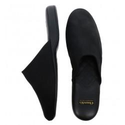 church's nouveautés chaussures d'intérieur Pantoufles ArranARRAN - CUIR ET TOILE - NOIR