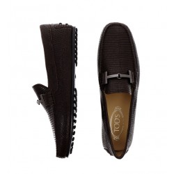 tod's mocassins et slippers Mocassins City GomminoBROKTIE - CUIR IMPRIMÉ LÉZARD -