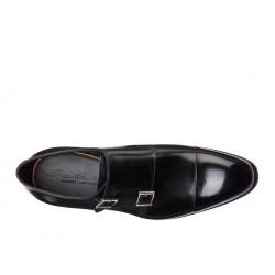 santoni nouveautés chaussures à boucles cartCART - CUIR - NOIR