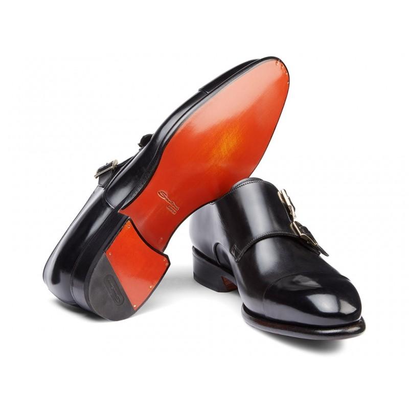 santoni chaussures à boucles Double-boucle CarterCART - CUIR - NOIR (DISPONIBLE S