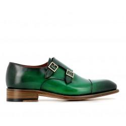 santoni nouveautés chaussures à boucles cartCART - CUIR PATINÉ - VERT