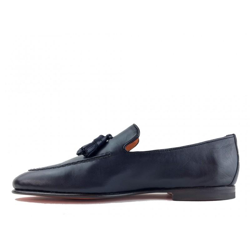 santoni mocassins et slippers Mocassins à pampillesCARLPO - CUIR SOUPLE - BLEU
