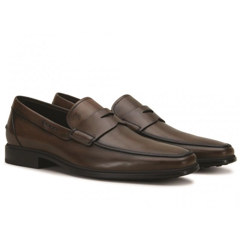 tod's mocassins et slippers MocassinsRIALTO2 - CUIR PATINÉ - MARRON