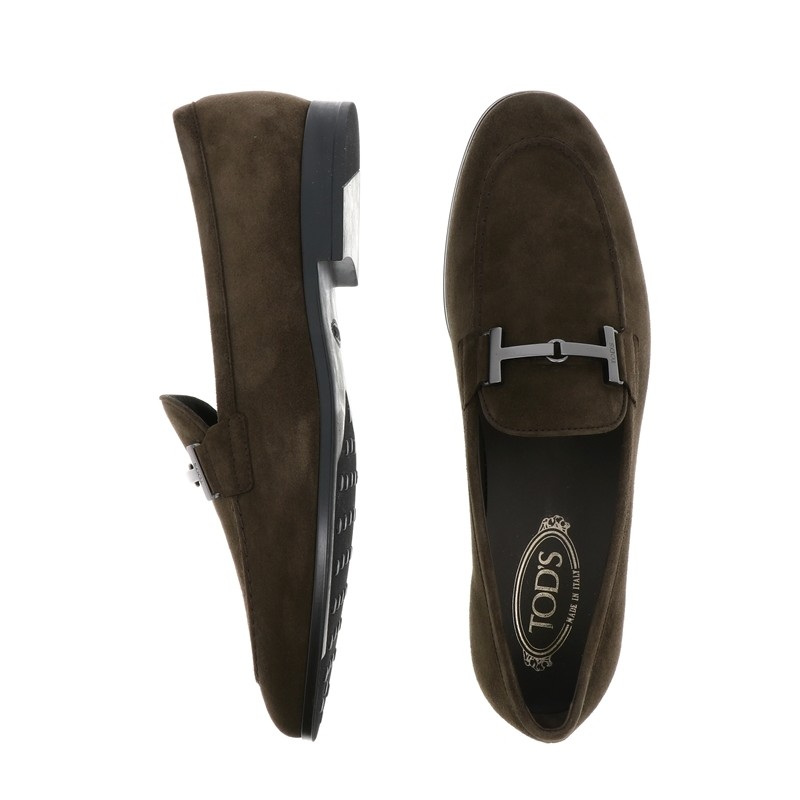 tod's mocassins et slippers Mocassins Double TPEMOG T - NUBUCK - CHOCOLAT ET A