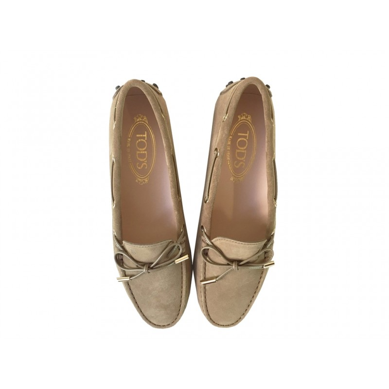 tod's mocassins & slippers Mocassins Gommino à lacetsLASSIE - NUBUCK - TABAC (2)