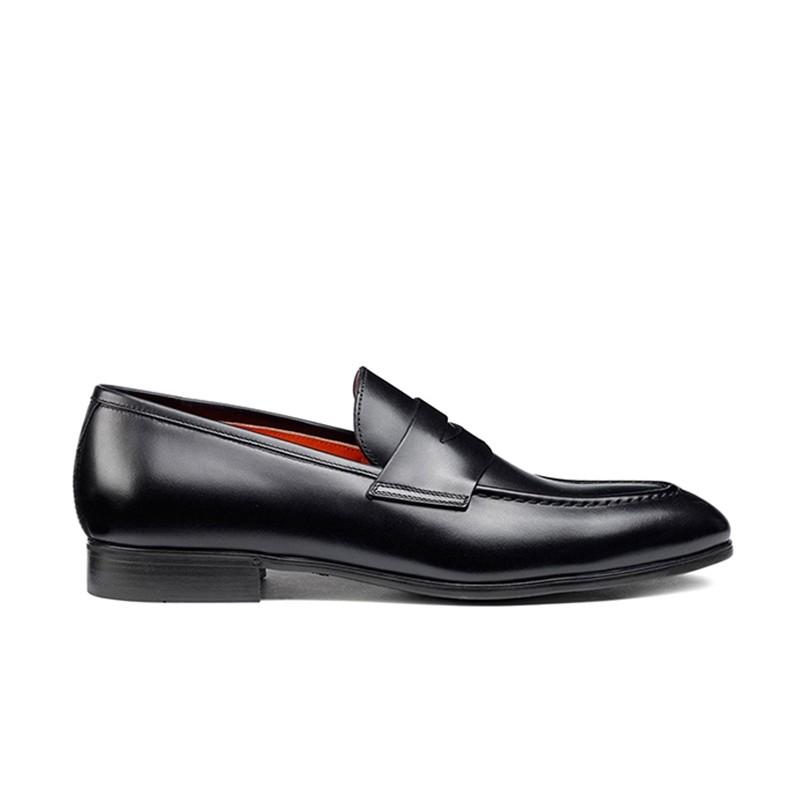 santoni mocassins et slippers Mocassins SimonSIMOC - CUIR - NOIR (DISPONIBLE