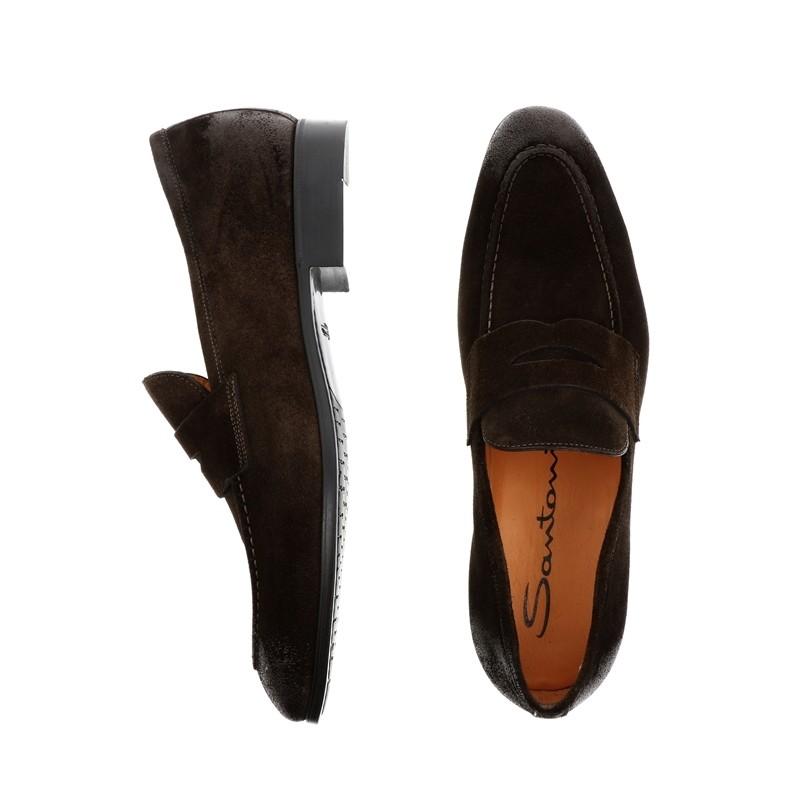 santoni mocassins et slippers Mocassins SimonSIMOC - NUBUCK VINTAGE - CHOCOLA