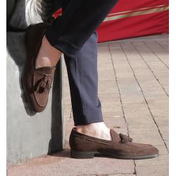 santoni mocassins et slippers Mocassins SimonSIPOMP - NUBUCK - CHOCOLAT