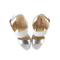 hogan promotions sandales SandalesCANIS - CUIR - ARGENT ET BLANC