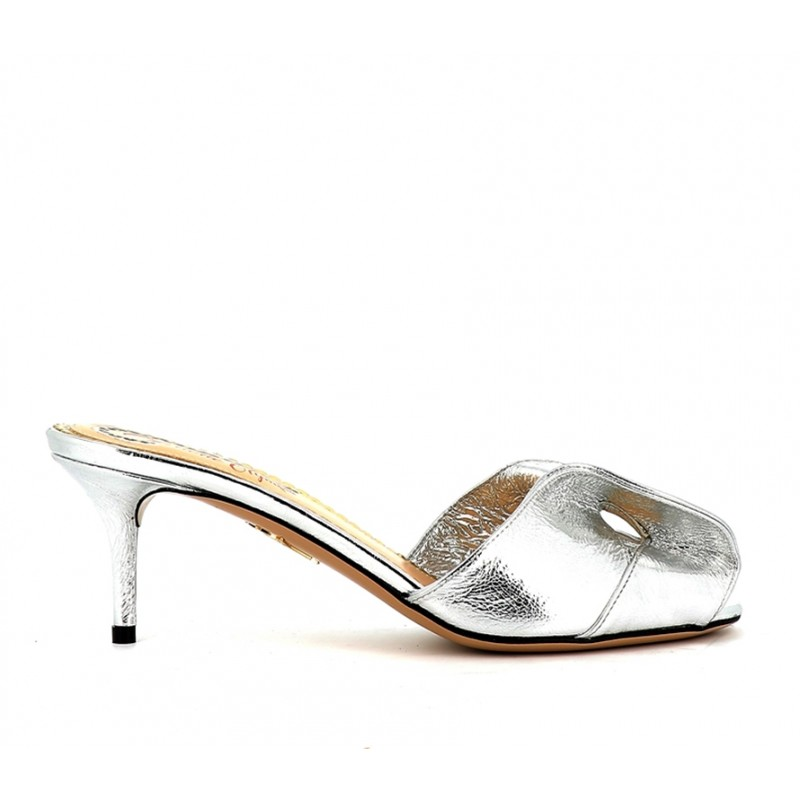 charlotte olympia promotions sandales SandalesCO MULE T6 - CUIR - ARGENT