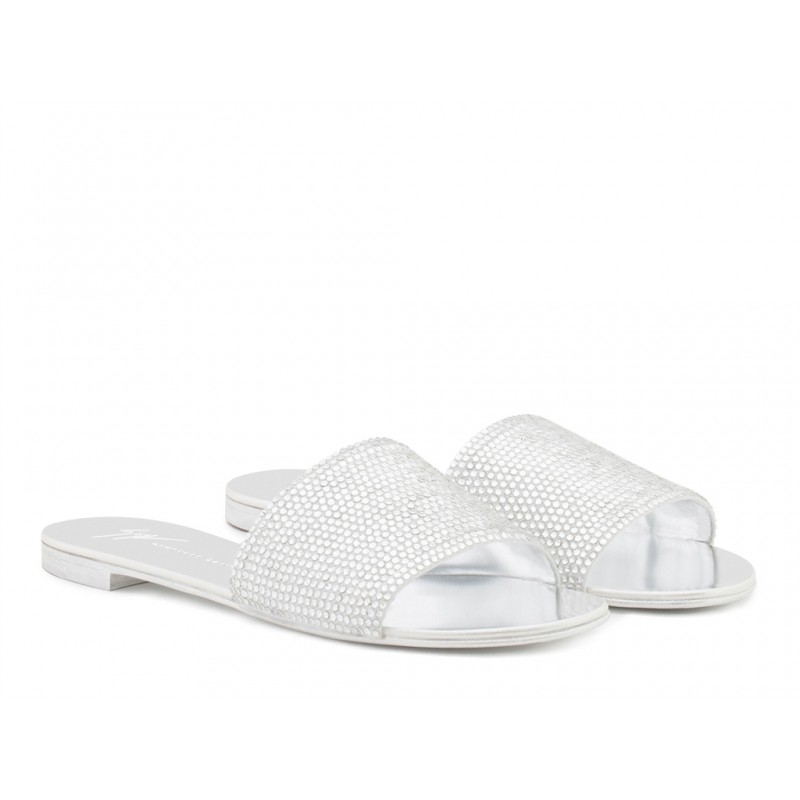giuseppe zanotti sandales Sandales AdeliaGZ F MULE PLAT - GLITTER - ARGEN