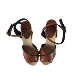 sonia rykiel sandales SandalesRY SAND BOIS T10 - CUIR - NATURE