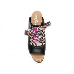 hogan promotions sandales Sandales CompenséesPIETRA - CUIR - NOIR