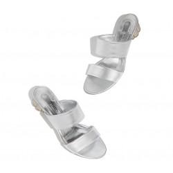 salvatore ferragamo promotions sandales SandalesSF MULE T3 - CUIR - ARGENT ET TA