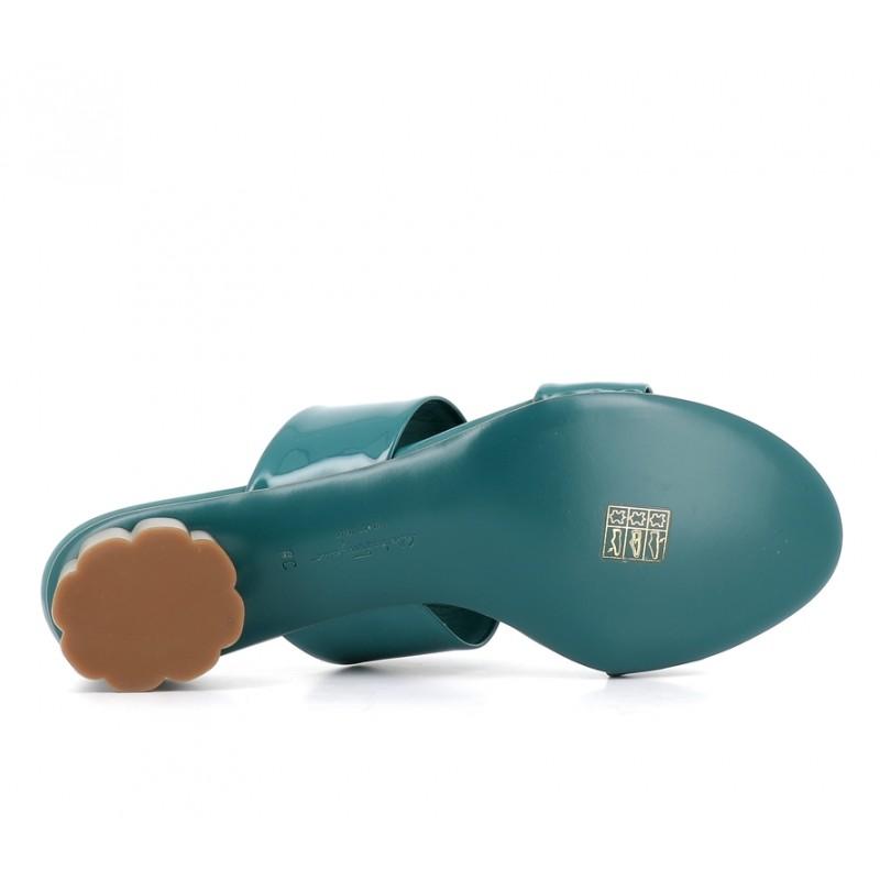 salvatore ferragamo sandales SandalesSF MULE T3 - CUIR VERNI. - BLEU