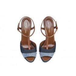 sergio rossi promotions sandales Sandales à plateforme 90 mmSR SAND PAT T85 - CUIR ET TISSUS