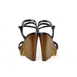 sergio rossi promotions sandales Sandales Compensées à talon 70 mmSR SANDAL BOIS T7 - VERNIS - NOI