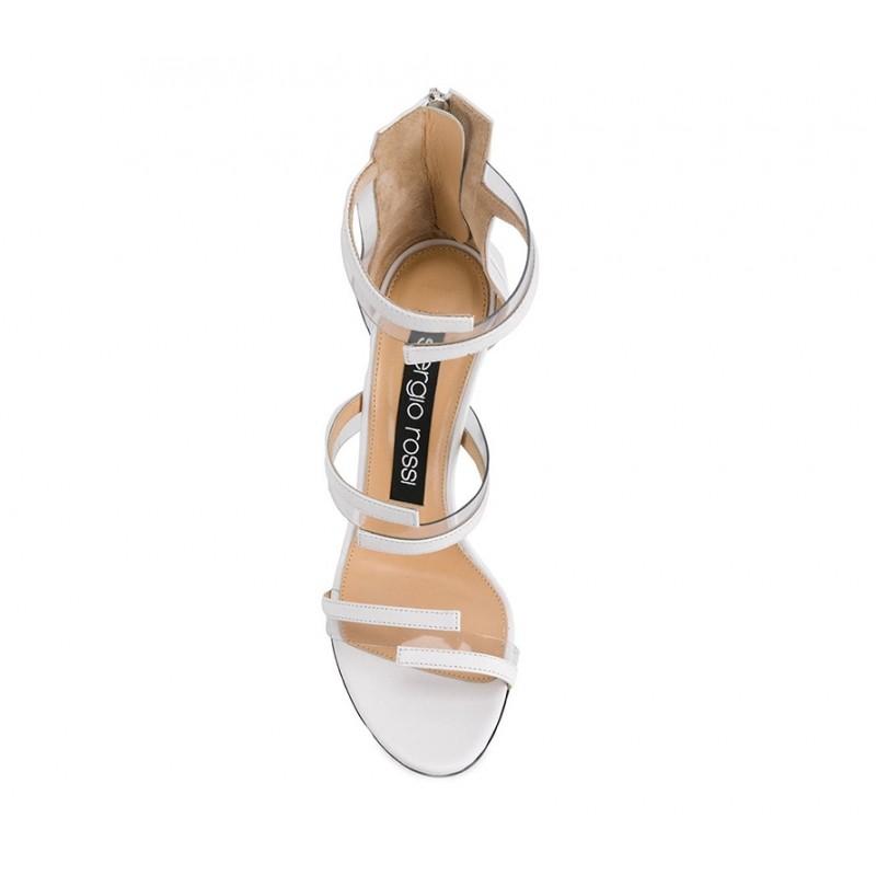sergio rossi sandales Sandales à talon 100 mmSR SAND VINYL T10 - CUIR - BLANC