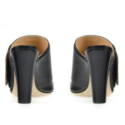 sergio rossi promotions sandales Sandales à talon 100 mmSR MULE BOUCLE T10 - CUIR - NOIR