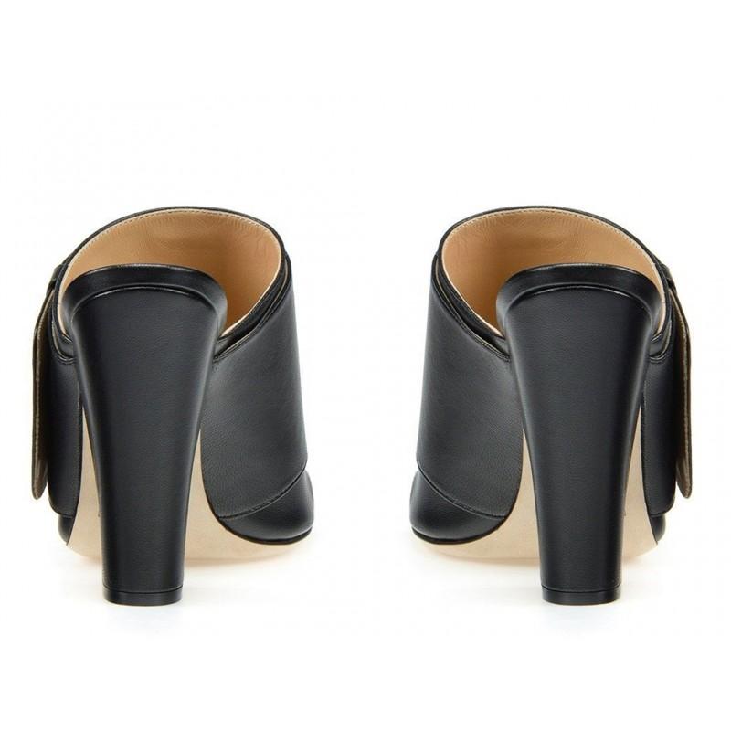 sergio rossi sandales Sandales à talon 100 mmSR MULE BOUCLE T10 - CUIR - NOIR